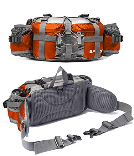 Waist Belt Bottle Pocket - Bp Vision Outdoor Fanny Pack Hiking Camping Biking Waterproof Waist Pack 2 Water Bottle Holder Sports Bag for Women and Men Orange