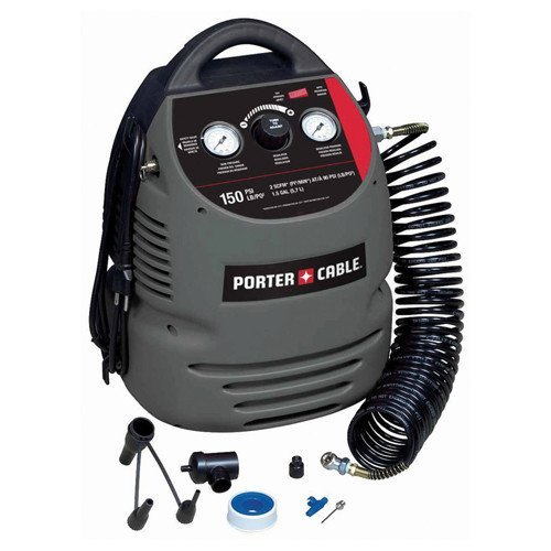5. PORTER-CABLE CMB15 150 PSI 1.5 Gallon Oil-Free Fully Shrouded Compressor