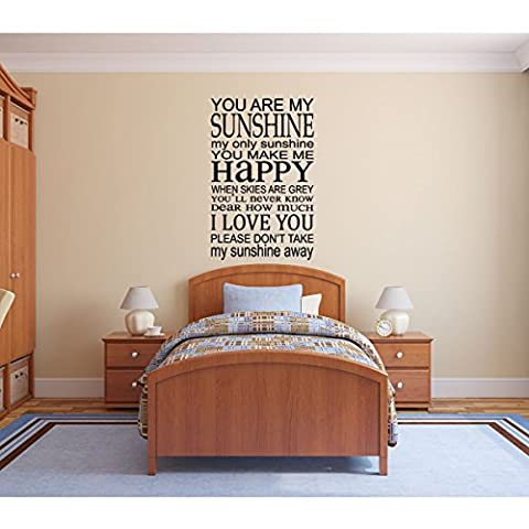You Are My Sunshine Wall Decal - Song Lyrics Home Decor - Vinyl Decoration for Bedroom, Living Room, Classroom, (Country Lyrics Sticker)