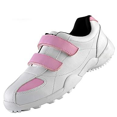 PGM Calzado deportivo de golf para mujer, zapatillas deportivas de velcro, impermeable, transpirable,Pink,4.5UK/38EU: Amazon.es: Ropa y accesorios