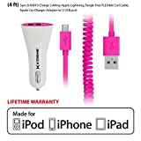 Rebelite Dual Port Apple Certified Car Charger w/ 4 Foot Flexible Coil Lightning Cable for iPhone, iPad, iPod, & Any Other Modern Apple Device (Peppy Pink) by Rebelite