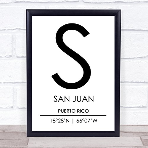San Juan Puerto Rico Coordinates World City Travel Quote Wall Art Print