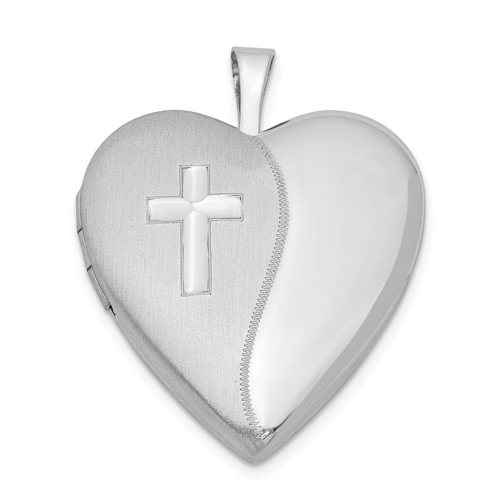 Sonia Jewels Sterling Silver 20mm Cross Satin//Polished Heart Locket