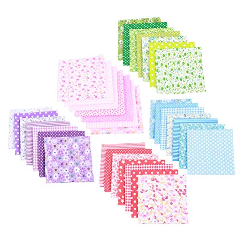 - Toyvian 5 Packs Cotton Printed Fabric Bundle Squares Craft Fabric Bundle for Sewing Patchwork Precut DIY Sewing Scrapbooking (7pcs for One Pack Fabric)