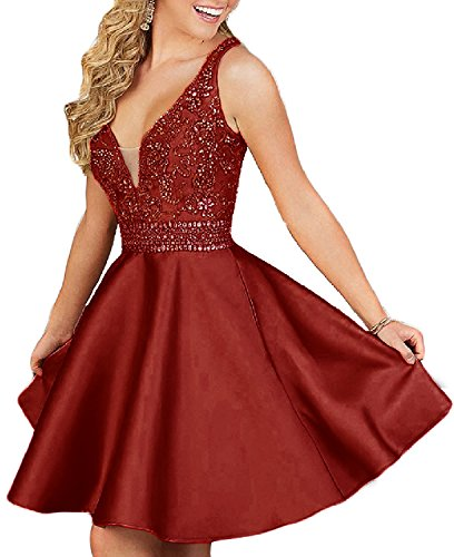 QSYE Women's a line Satin Homecoming Dresses with Beadings Short V Neck Prom Party Gowns H014 Burgundy 6 ()