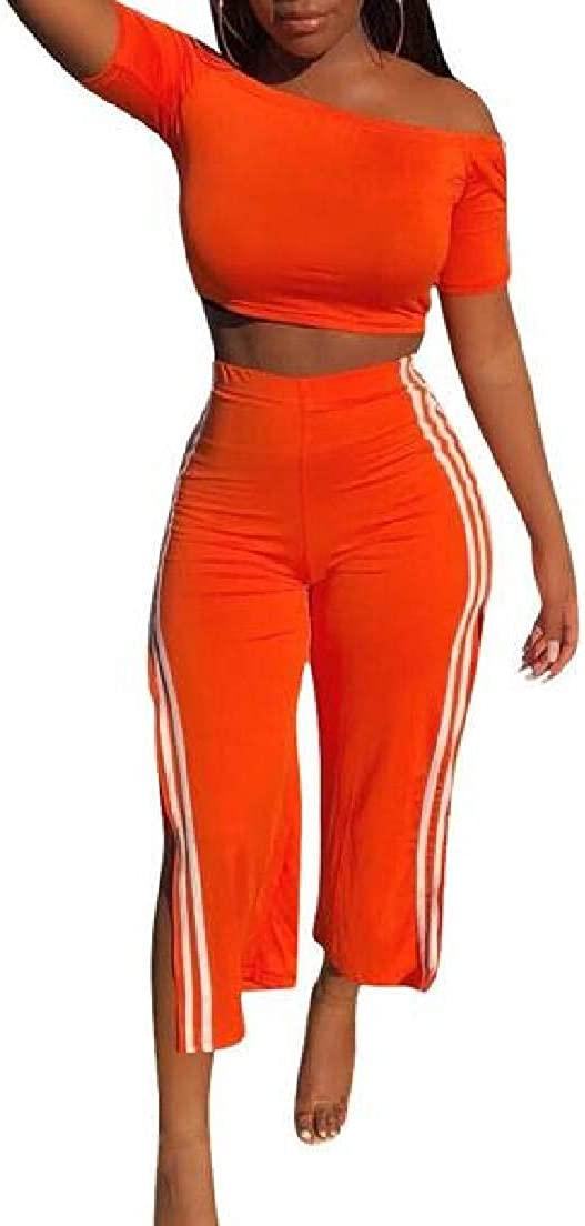 UUYUK Women Short Sleeve Off The Shoulder Two Piece Outfits Crop Tops and Pants Set