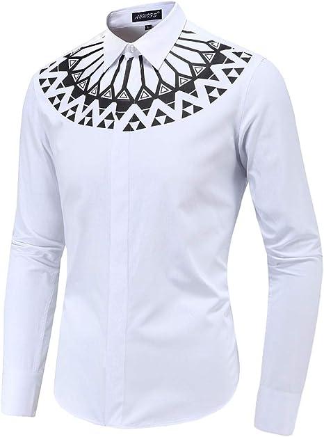 X&Armanis Camisa Casual para Hombre, Camisa Estampada geométrica Camisa de Manga Larga Solapa (Blanco): Amazon.es: Deportes y aire libre