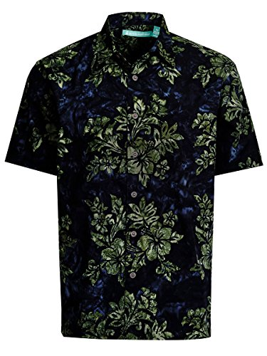 Artisan Outfitters Mens Crystal Cove Batik Cotton Shirt (2XL, Deep Sea Blue) (Unique Batik)