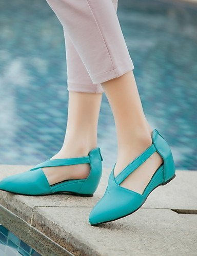 Career Outdoor Comfort Heel Wedge Leather Patent Wedges Beige Pointed Toe DressBlue Women's ShangYi Office Shoes amp; Sandals 4q6P0X