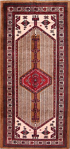 One-of-A-Kind Meshkin Tribal Geometric Hand-Knotted 3x7 Beige Wool Vintage Persian Area Rug (7' 3