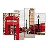 SmartWallArt - City Landscape Paintings Wall Art Decor Red Telephone Box Double Decker Bus and Big Ben London Uk 4 panels Picture Print on Canvas for Modern Home Decoration