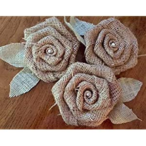 """Set of Three Large 5"""" Loose Weave Burlap Flowers with Sage Mint Leaves and Pearl Center Rustic Wedding Wreath Cake Top Decor 1"""