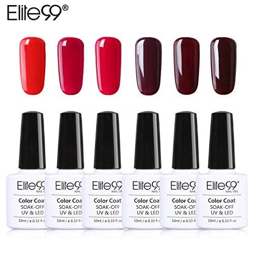 Elite99 Soak Off UV LED Gel Nail Polish Wine Red Series Manicure Collections Nail Art Decoration 10ml (C001-6pcs)