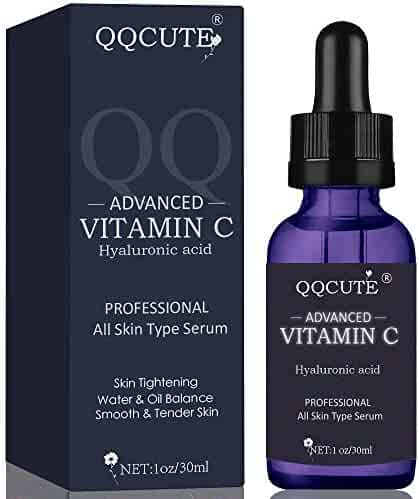 QQcute 30% Vitamin C Serum for Face, Natural and Organic Skin Care for Anti Aging, Anti-Wrinkle, Intense Moisture, Topical Eye & Facial Treatment Serum with Hyaluronic Acid(1 fl. oz)