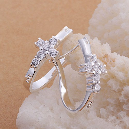 Womens Silver Plated New Clear Crystal U Style Cross Hoop Ear Stud -