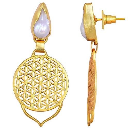 Pearl Earrings For Women By Orchid Jewelry| Freshwater Pearl Earrings| Dangle Earrings| Hypoallergenic Earrings| Earrings For Sensitive Ears| Nickel Free Earrings| Wedding Earrings (16 Ctw)