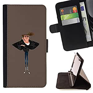 Momo Phone Case / Flip Funda de Cuero Case Cover - Hombre Humo Vaqueros ajustados Arte Pintura Estilo - Samsung Galaxy Note 5 5th N9200