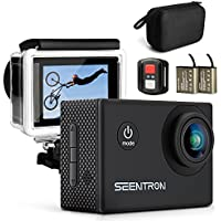 SEENTRON Action Camera, 4K Ultra HD WiFi Waterproof Sports Camera with 16MP SONY CMOS Sensor, 170° Wide Angle Sharkeye Lens, Remote Control, 2 Rechargeable Batteries & Portable Package