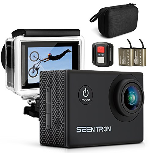 SEENTRON Action Camera, 4K Ultra HD WiFi Waterproof Sports Camera with 16MP SONY Cmos Sensor, 170° Wide Angle Lens, Remote Control, 2 Rechargeable Batteries & Portable Package Action Cameras SEENTRON