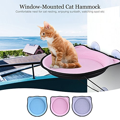 (XINYI Cat Window Perch Window-Mounted kitty cot,Window Sill Sucker Type Cat Hammock, can Bear 15kg, Provide a Full Range of Viewing Angle for the Cat, the Cat's Favorite Bed (pink))