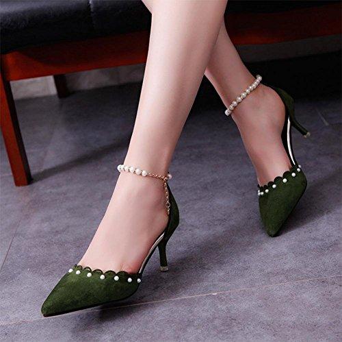 Frauen Sandalen Sommer Sandalen weibliche Schuhe mit hohen Absätzen flachen Mund hohle dünne Sandalen mit spitzen Frauen Sandalen green