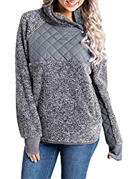 Womens Long Sleeve Oblique Button Neck Splice Geometric Fleece Sweatshirts Coat Pullover Outwear