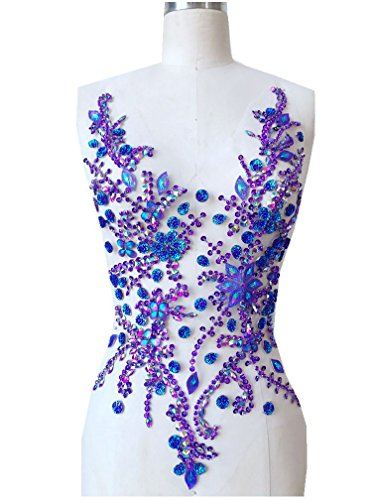 Pure Hand Made Crystals Patches purple Sew on Rhinestone Applique Knit Trim 50 x 30 cm dress Accessory