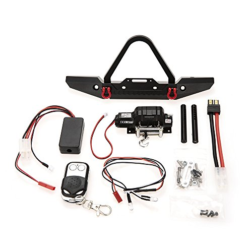 Goolsky Metal Front Bumper Bright LED Lamp Winch Controller and Receiver Kit for 1/10 TRX-4 RC Crawler Off-road Climbing - Kit Crawler