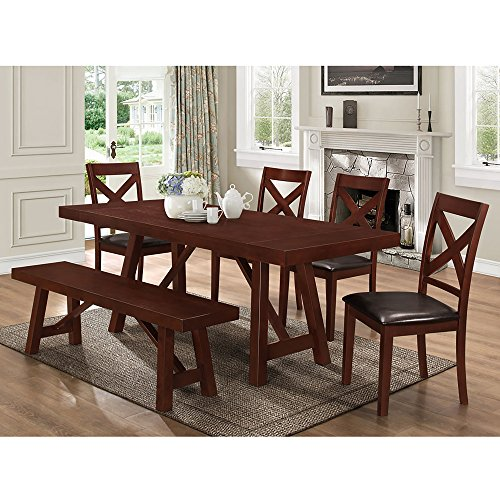 6 Piece Solid Wood Trestle Style Dining Set , Espresso