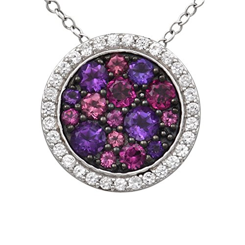 Jewelili Sterling Silver Round Mixed Color Stones Framed with Created White Sapphire Halo Pendant Necklace 18