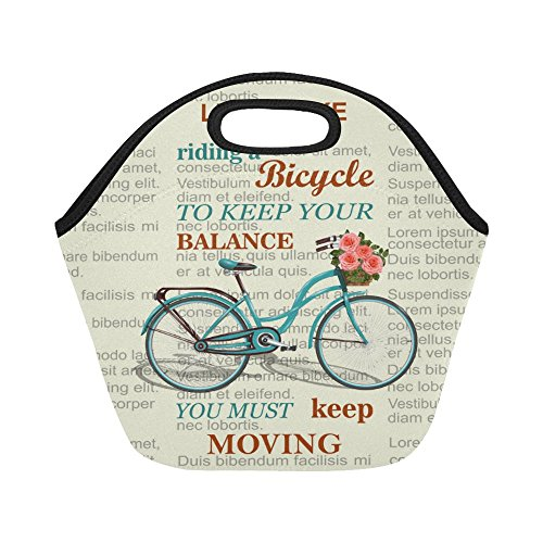 InterestPrint Inspirational Quote Bicycle on Newspaper Reusable Insulated Neoprene Lunch Tote Bag Cooler 11.93