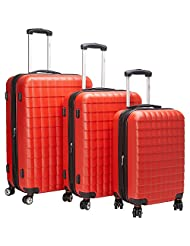 McBRINE eco friendly hard sided 3 pc luggage set on double swivel wheels using 70 % recylced ABS exterior