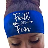 Womens Headband - Start Casual Sports Headwrap for Running Crossfit Yoga Sweatband Stretch Nonslip Hair Accessories (Blue - Faith Over Fear)