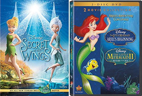 Tinkerbell Fairy Pirate (Disney Little Mermaid & Tinker Bell Secret of Wings DVD Animated Movie Set Ariel's Beginning & Return to the Sea)