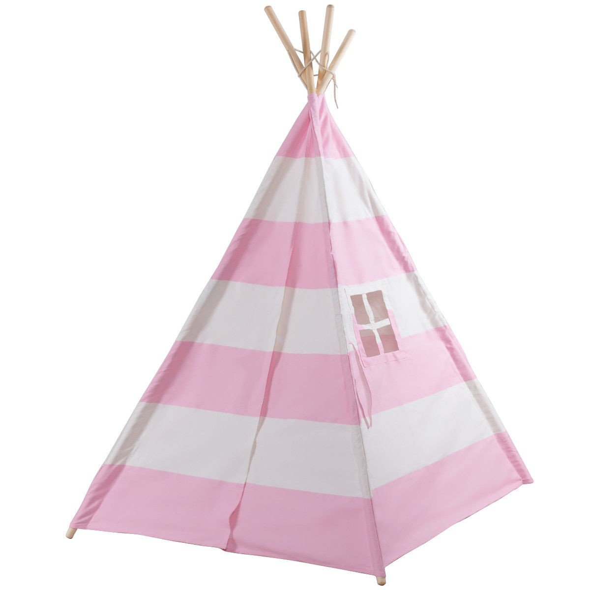 COSTWAY Kids Indian Play Tent Teepee Children Girl Boy Play House Sleeping Dome Bag Pink + FREE E - Book Only By eight24hours by COSTWAY (Image #1)