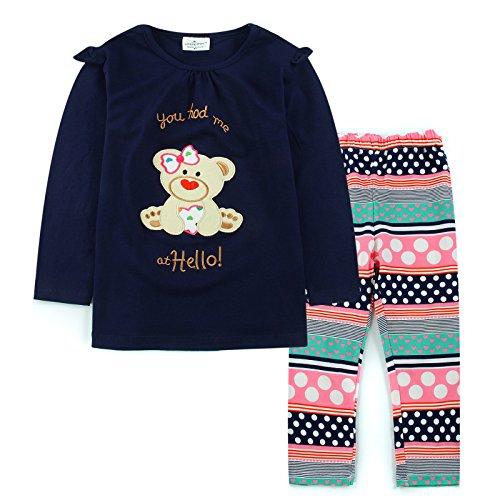 [Neighbor Girl Children's Baby Cartoon Bear sweatshirts Flower Pants 2pcs Set] (Flower Fairy Costume Ideas)