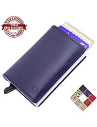Card Blocr Best Front Pocket Wallets for Men | #1 RFID Blocking Secure Metal Credit Card Sleeve for Security and Protection | Slim Minimalist Trifold RFID Wallet | 8 Colors Options (No Snap w/ Bottom Trigger, Navy Leather)