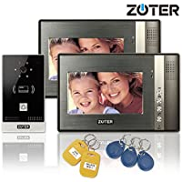 Wired 7 inch LCD Color Video Door Phone Intercom Doorbell 1 Camera 2 Monitor RFID Access Control Security Entry System