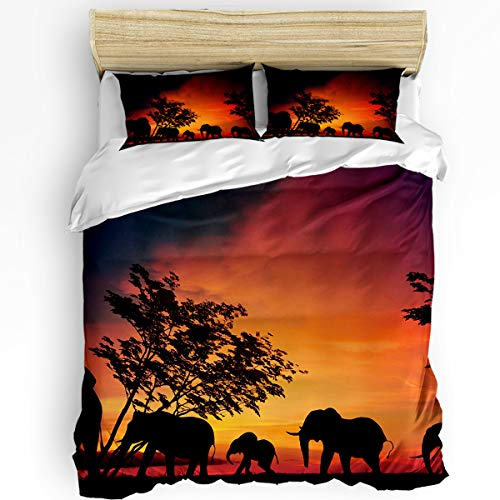 - Queen Size 3 Piece Duvet Cover Set Twill Plush Soft Bedding Sets for Boys Girls,Silhouette of a group of elephants at dusk scene Comforter Cover Set,Include 1 Comforter Cover and 2 Pillow Shams