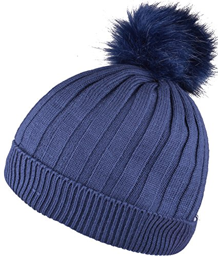 WDSKY Faux Fur Pom Pom Cap Cuff Beanie Hats Warm Hats Knitted Ribbed Skull Caps (Warm Ribbed Tights)