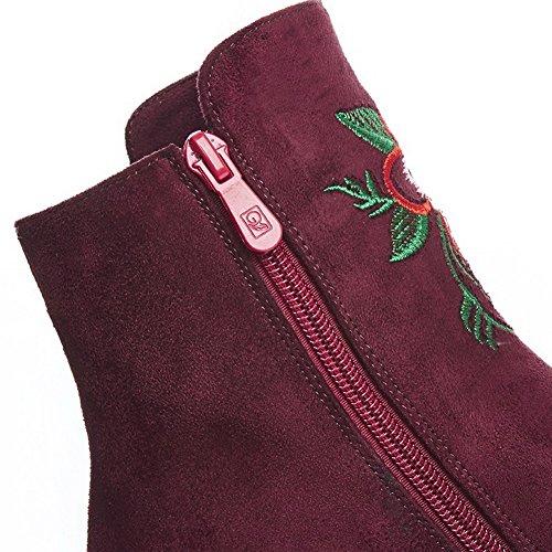 AllhqFashion Womens Assorted Color Imitated Suede Kitten-Heels Zipper Round Closed Toe Boots Claret CyT6EStDQC
