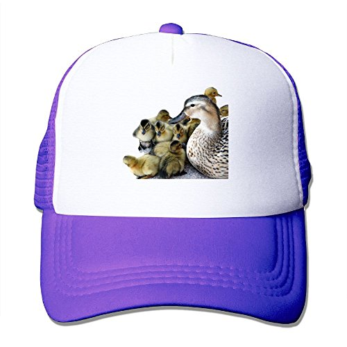 ZhiqianDF Momen's Wild Mother Duck And Ducklings Funny Travel Purple Mesh Caps Hats Adjustable Snapback Dynasty Leather Watch