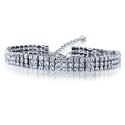 Women's Clear Crystal Rhinestone Choker Necklace (3 Row Choker) Row Rhinestone Necklace