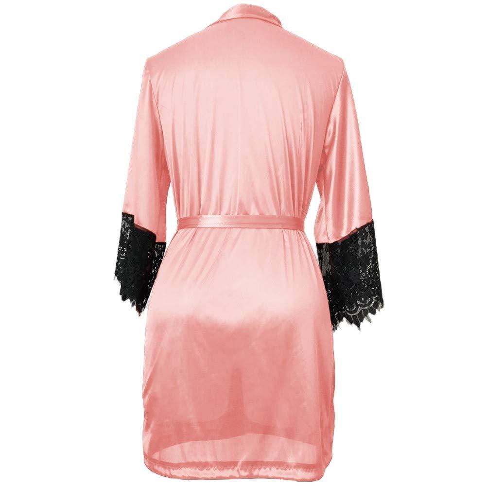 Amazon.com: YOMXL Nightgown,Sexy Women Eyelash Sleeve Silk Kimono Fashion Patchwork Nightdress Babydoll Bath Lingerie Robe with Belt: Home & Kitchen