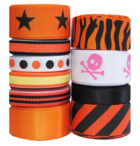 HipGirl 50 Yards Halloween Grosgrain or Satin Fabric Ribbon for Holiday Pirate Party Decoration, Hair Bow Accessory, Scrapbook, Match Your Costumes--Skull, Orange and Black Combo (Pattern May (Boutique Costumes Halloween Paris)