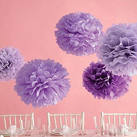 Buy Generic Rose Red 20cm Tissue Paper Flowers Pom Poms Balls