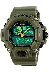 Fanmis Men's Sports Analog Digital LED Watch Military Multifunctional Waterproof Wristwatch Green