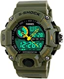 Fanmis Men's Sports Analog Digital LED Watch Military Multifunctional Waterproof Wristwatch Green Rating