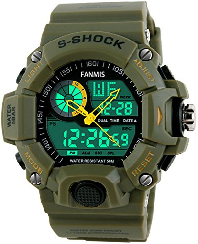 Fanmis Men's Sports Analog Digital LED Watch Military Multifunctional Waterproof Wristwatch Green