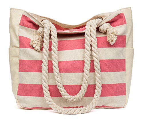 Malirona Beach Canvas Travel Tote Bag (Pink Stripes) ()